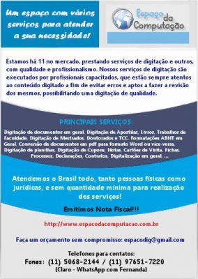 Espaço da Computação - Serviços de Digitação e Digitalização